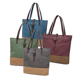 Borsa a mano in tela da donna a contrasto splicing cerniera multi-tasca borsa casual per laptop di grande capacità