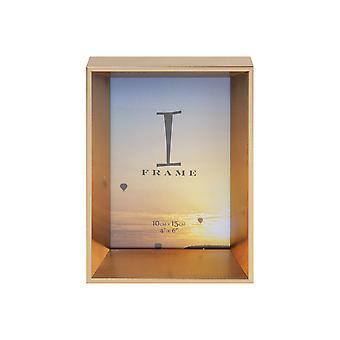 "4"" x 6"" - iFrame Gold Angled Box Photo Frame"