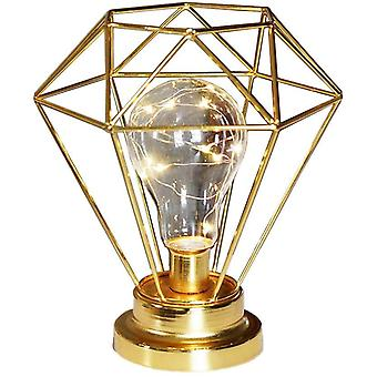 Table Lamp Made Of Modern Black Wire Made Of Iron - Cage Style - Retro Bedside Lamp - Works With Batteries