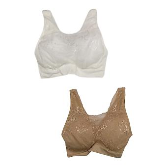 Breezies One Set of 2 Lace Seamless Cami Bra Beige A378013