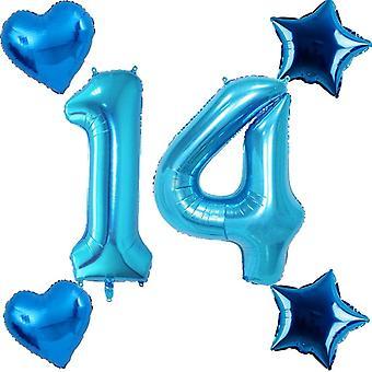 40 Zoll Luftballon Zahl 14 Geburtstag Junge blau + 4 stück FolienballonXXL ZahlenBallons 14 Helium