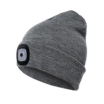 Beanie Hat With Light Unisex Usb Rechargeable Beanie Cap With Light Headlamp Beanie(Gray)