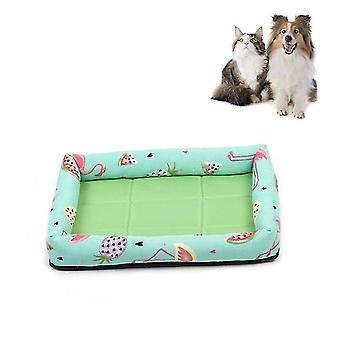 Sommer Haustier nicht abnehmbare Seite Hund Matte Haustier Bett, Technische Daten: M 53X40X6cm (Wassermelone grün)