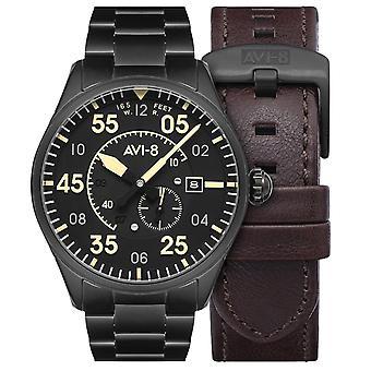 AVI-8 Av-4073-33 Mens Spitfire Typ 300 Automatisk Midnight Chrome Steel Watch Med Läderrem