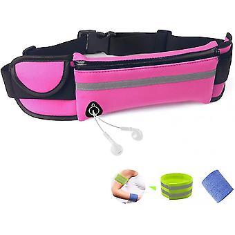 Running Belt Bum Bag Waterproof Adjustable Flip Belt For Men Women Outdoor Sports(Pink)