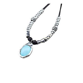 Fashion Jewelry Handmade Diy Wrap Leather Candy Style Short Necklace(Blue)
