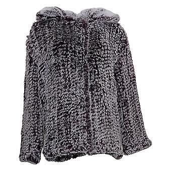 Colleen Lopez Dames Jas Gebreid faux fur motto paars 673003