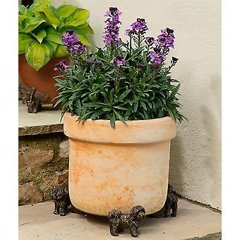 Potty Feet Decorative Shih Tzu Themed Plant Pot Feet - Bronze Color - Set of 3