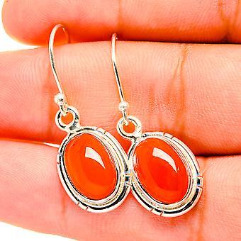 """Carnelian Earrings 1/2"""" (925 Sterling Silver)  - Handmade Boho Vintage Jewelry EARR419435"""