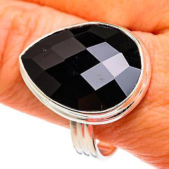 Grande bague en onyx noir taille 12 (argent sterling 925) - Bijoux vintage Boho faits à la main RING77676