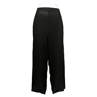 Antthony Women's Pants Plus Wide Leg Tulip Hem Crop Black 747088
