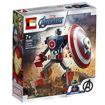 Compatible With Lego Superhero Series 76168 Captain America Mecha Children's Building Block Toys (121 Pcs)