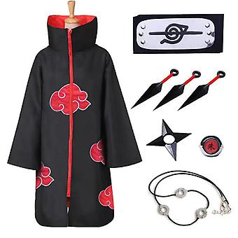 Japanese Anime Naruto Cloak Cos Long Kimono Akatsuki Print Halloween Jacket Red Cloud Robe