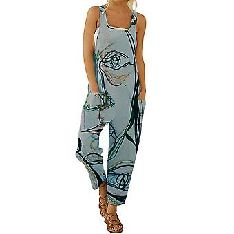 Women's Summer Overalls Rompers Abstract Print Sleeveless