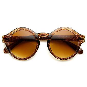 Retro Bold Frame Keyhole Bridge P3 Frame Round Sunglasses