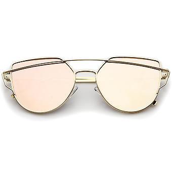 Petite armature métallique mince Temple couleur miroir lentille plate lunettes de soleil aviateur 54mm