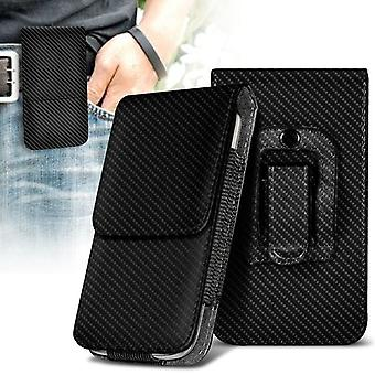 Huawei Enjoy 5s Vertical Faux Leather Belt Holster Pouch Cover Case (Carbon)