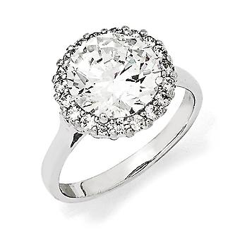 925 Sterling Silver Rhodium plated CZ Cubic Zirconia Simulated Diamond Ring Jewelry Gifts for Women - Ring Size: 6 to 8