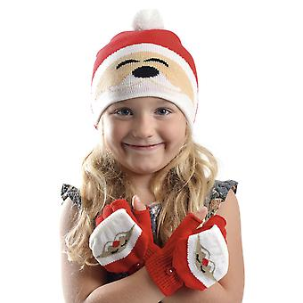 RJM Kids Christmas Beanie Hat & Mitten Cap Gloves Red Santa
