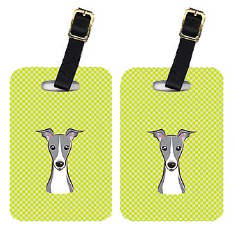 Pair of Checkerboard Lime Green Italian Greyhound Luggage Tags