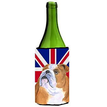 Bulldog Inglés con inglés Union Jack británico bandera botella de vino bebidas Insula