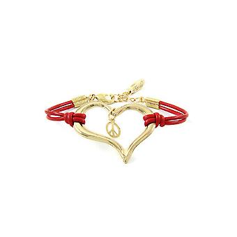 Ettika - Heart and Peace and Love Bracelet in Yellow Gold and Red Leather 3722