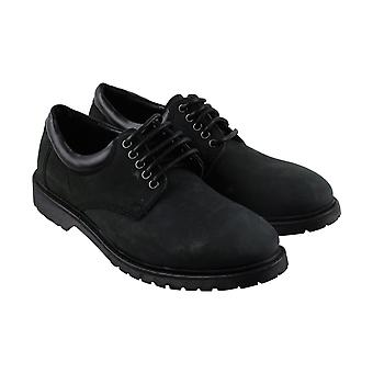 Steve Madden Mens Black Nubuck Leather Low Top Plain Toe Oxfords Chaussures
