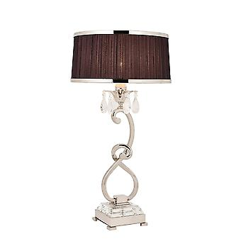 Interiors 1900 70822 Oksana Table Lamp In Nickel Finish With Crystal D