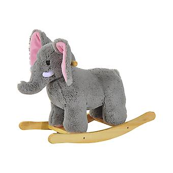 Homcom Kids Toy Rocking Ride on Animal Wooden Riding Traditional Rocker (Grey Elephant)
