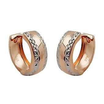 Creolen rotgold 375 Ohrringe Creole, bicolor diamantiert 9 Kt Rotgold
