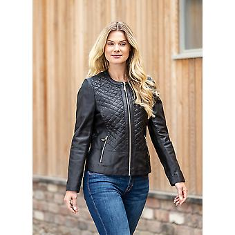 Cheri Quilted Collarless Leather Jacket in Black