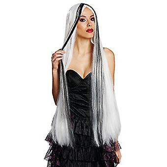 Theresa white long hair wig Centre parting ladies black hair accessory