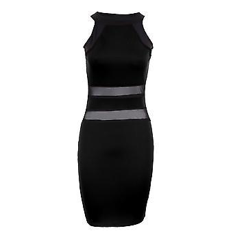 Ladies Sleeveless Stripe Contrast Mesh See Through Women's Bodycon Dress