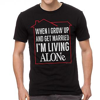 Home Alone Living Alone When Grow Men's Black T-shirt