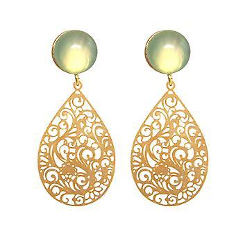 GEMSHINE women's earrings mandala green chalcedony gemstone silver, gold plated,rose