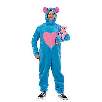 Ours bleu du costume ours avec costume unisexe combinaison en peluche de coeur