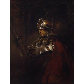 Człowiek w zbroi, REMBRANDT Harmenszoon van Rijn,50x40cm