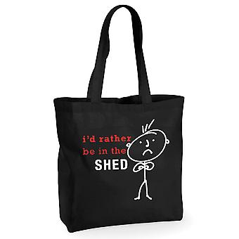 Mens I'd Rather Be In The Shed Black Cotton Shopping Bag