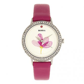 Bertha Delilah Leather-Band Watch - Silver/Fuchsia