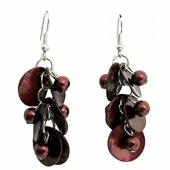 Brown Shell Moop Shell Earring w / Perles simulées boucles d'oreilles pendantes