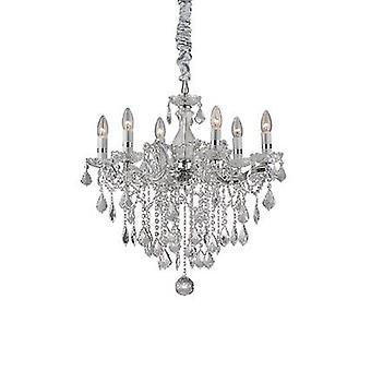 Ideel Lux - Florian krom og klar glas seks lys lysekrone med krystaller IDL035628