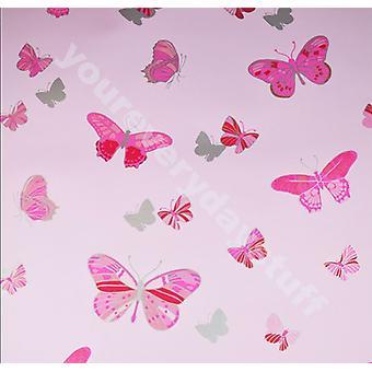 Butterfly Wallpaper Pink Metallic Silver Girls Bedroom Washable Debona