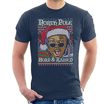 Fresh Prince Of Bel Air Christmas Knit Pattern North Pole Born And Raised Men's T-Shirt