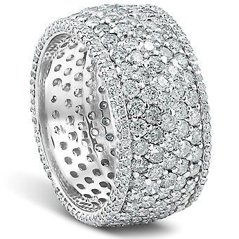 5ct Pave diamant evighet Ring 14K vitt guld
