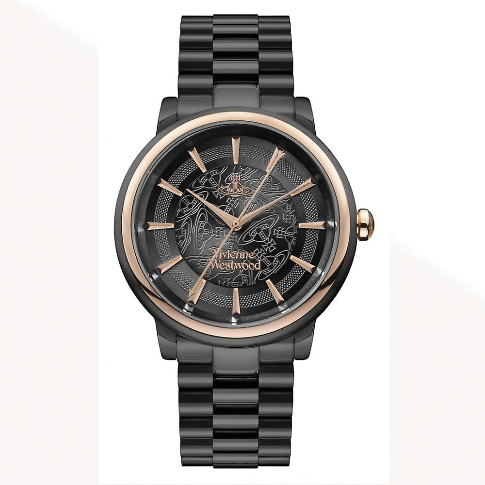 Vivienne Westwood Vv196gngn Shoreditch Black & Rose Gold Stainless Steel Watch