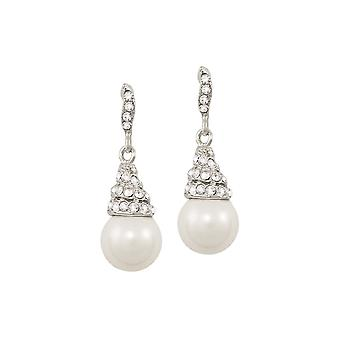 Eternal Collection Renata White Pearl And Austrian Crystal Silver Tone Drop Pierced Earrings