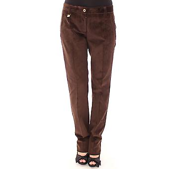 Brown corderoy logotipo recto pantalones casuales