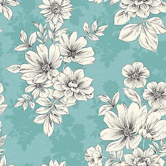 Teal Blue White Floral Wallpaper Squares Metallic Shimmer Flowers Rasch Tivoli