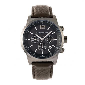 Morphic M67 Series Chronograph bőr-Band Watch w/Date-Gunmetal/Brown