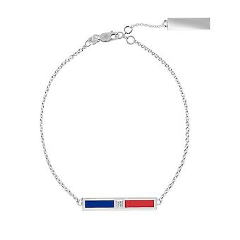 Louisiana Tech University Sterling Silver Diamond Bar Chain Bracelet In Blue and Red